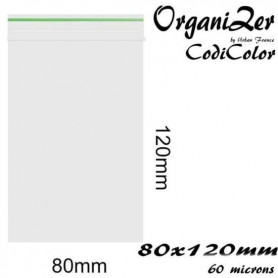 Pochon plastique a fermeture zip 80x120mm 60 microns OrganiZip CodiColor Vert
