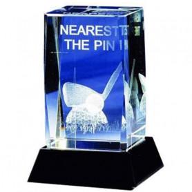 Trophée de golf Cristal Nearest the Pin Image 3D Fer et Balle de golf