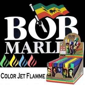Briquet tempête Bob Marley avec flamme colorée Bleu Marine