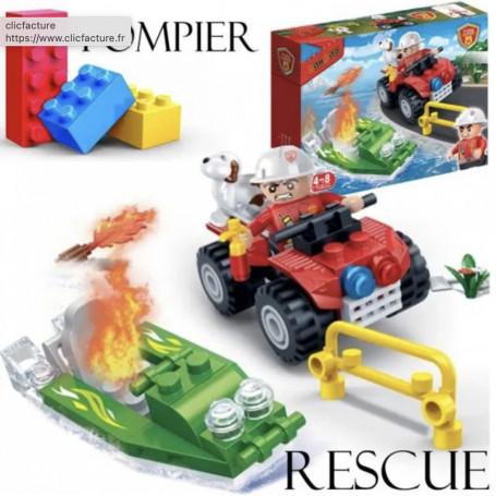 Jeu de construction Rescue Pompier Quad et Bateau 62 briques