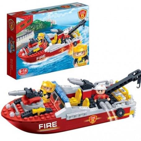 Jeu de construction Pompier Bateau Remorqueur 225 briques